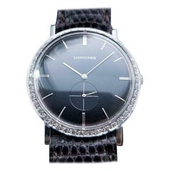 Midsize Longines 18 Karat White Gold Ref.167-B Diamond Dress Watch, LV65BRN