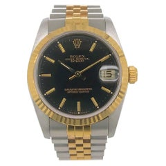 Midsized Rolex Datejust with Black Dial and Two-Tone Jubilee Bracelet circa 1987