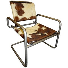 Mies Van Der Rohe 1970s Armchair, Cowhide and Polished Steel