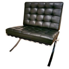 Mies Van Der Rohe Barcelona Chair for Knoll International, Black, Chrome, Signed