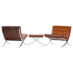 Mies van der Rohe Barcelona Chairs & Ottoman for Knoll International, circa 1974