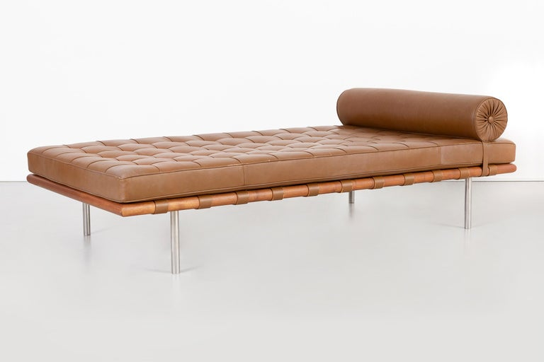 Barcelona couch   designed by Mies Van Der Rohe  USA, circa 1971  leather + walnut + polished stainless steel  original leather reconditioned in excellent condition with new foam  retains the original Knoll label dated 1971  A portion of