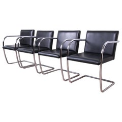 Mies van der Rohe Black Leather and Chrome Brno Chairs, Made in Italy