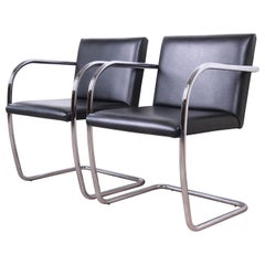 Mies van der Rohe Black Leather and Chrome Brno Chairs, Pair