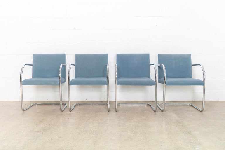 Mid-Century Modern Mies van der Rohe Blue BRNO Chrome Cantilever Dining Chairs, Set of 4 For Sale