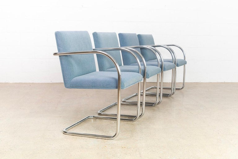 American Mies van der Rohe Blue BRNO Chrome Cantilever Dining Chairs, Set of 4 For Sale