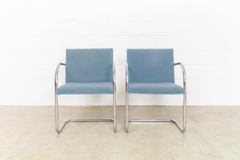 Mies van der Rohe Blue BRNO Chrome Cantilever Dining Chairs, Set of 4 In Good Condition For Sale In Detroit, MI