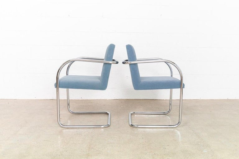 Late 20th Century Mies van der Rohe Blue BRNO Chrome Cantilever Dining Chairs, Set of 4 For Sale