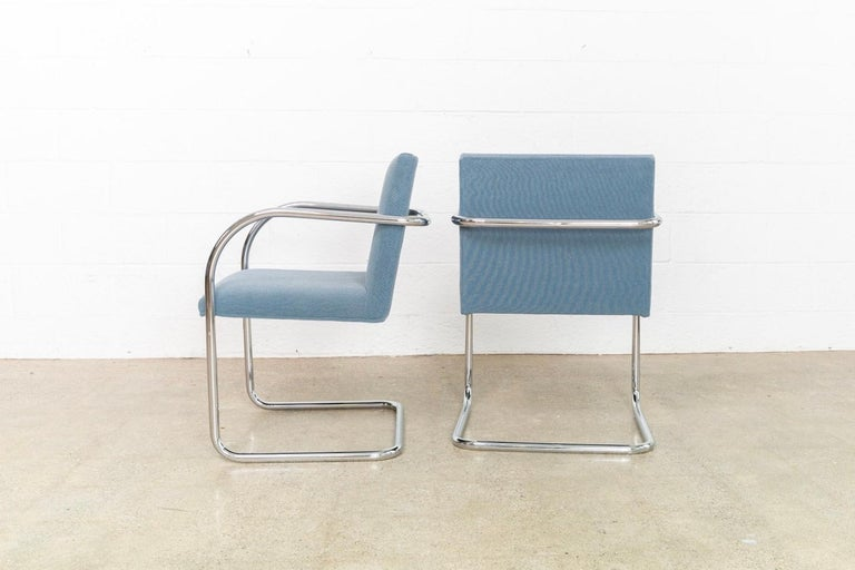 Fabric Mies van der Rohe Blue BRNO Chrome Cantilever Dining Chairs, Set of 4 For Sale