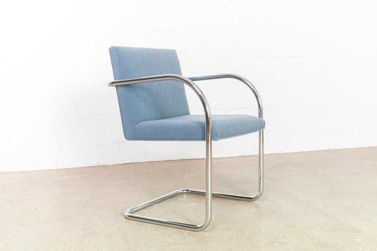Mies van der Rohe Blue BRNO Chrome Cantilever Dining Chairs, Set of 4 For Sale 1