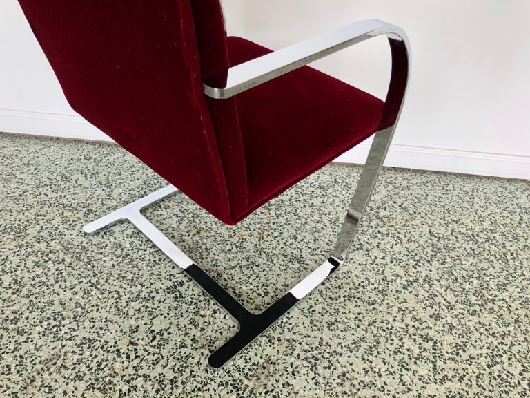 Mies van der Rohe Brno Chrome Cantilever Dining Chairs, Set of 4 For Sale 2