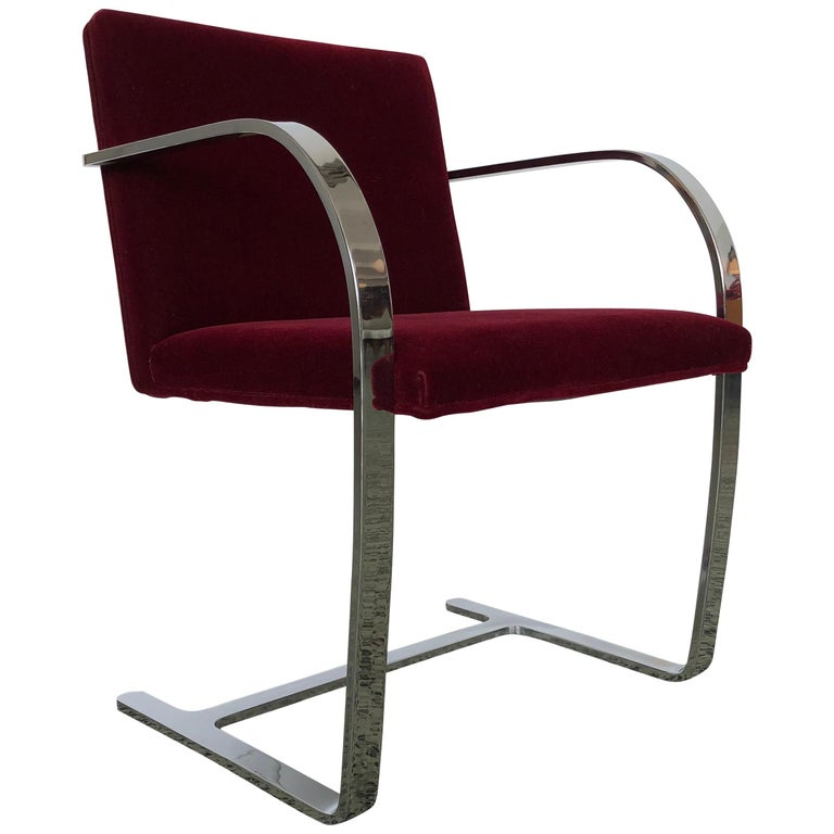 Mies van der Rohe Brno Chrome Cantilever Dining Chairs, Set of 4 For Sale