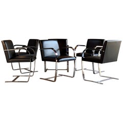 Mies van der Rohe Brno Dining Chairs Set of Six Leather Flat Bar by Knoll