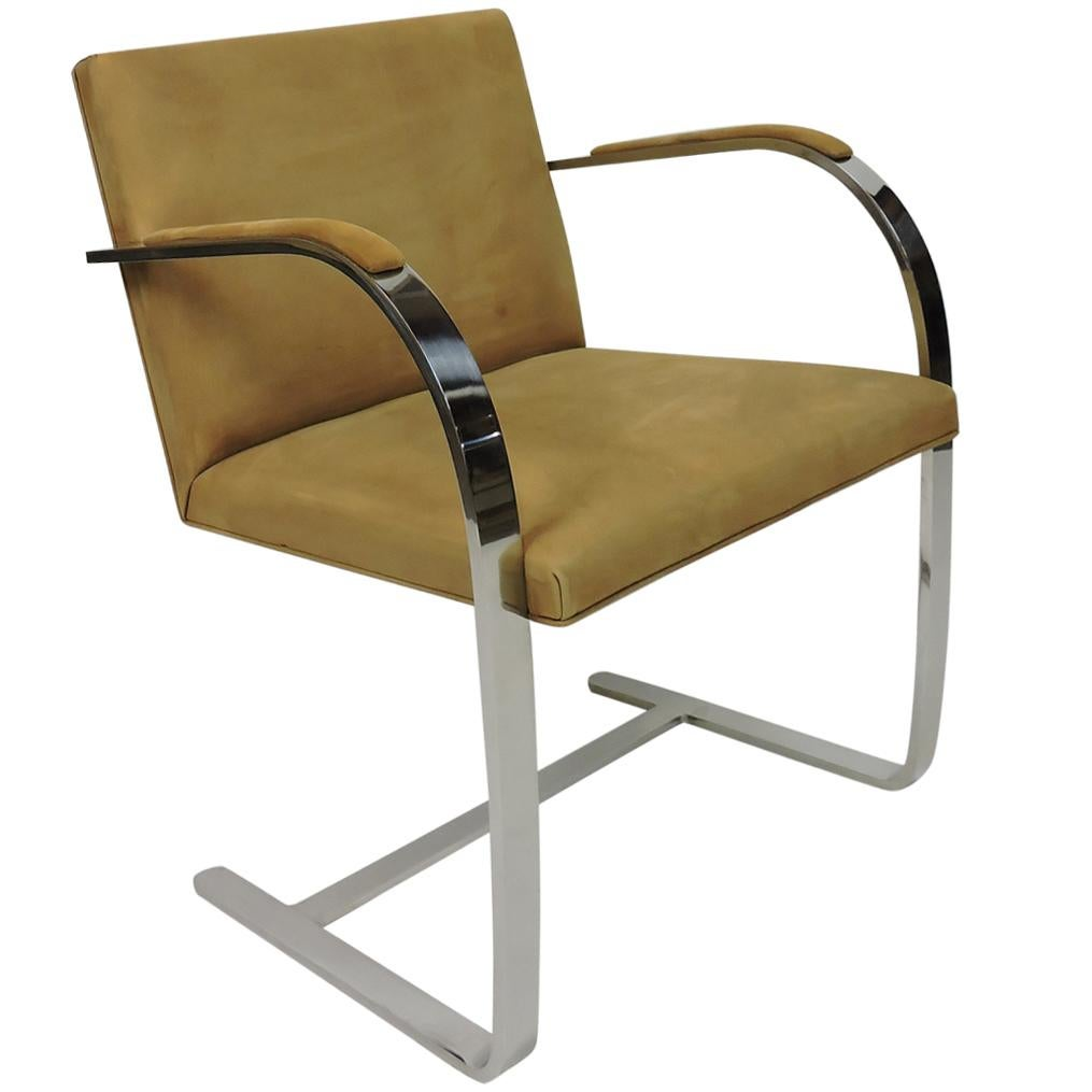 Mies van der Rohe Brno Stainless Steel Flat Bar Chair for Knoll