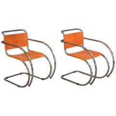 Mies van der Rohe Cantilevered Chrome Armchairs, MR-20