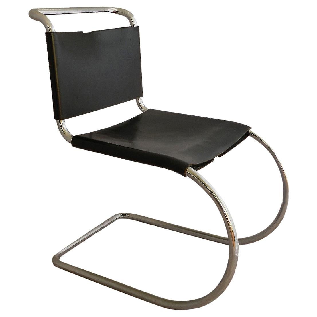 Mies van der Rohe Chair for Knoll International MR10 Black Leather Chrome