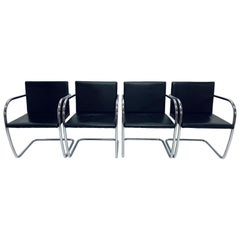 Mies Van Der Rohe Design Style Black Naugahyde Brno Chairs, Set of Four
