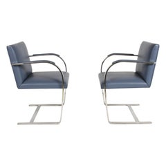 Mies van der Rohe Flat Bar Brno Chairs by Knoll, Stainless