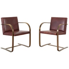 Mies van der Rohe for Brueton Bronze Flat Bar Brno Chairs