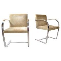 Mies Van Der Rohe For Knoll Beige Ultrasuede Stainless Steel Brno Chairs, Pair