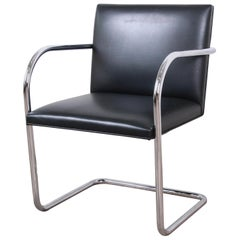 Mies van der Rohe for Knoll Black Leather and Chrome Brno Chair