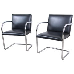 Mies van der Rohe for Knoll Black Leather and Chrome Brno Chairs, Pair