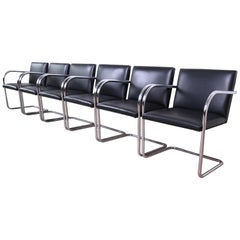 Mies van der Rohe for Knoll Black Leather and Chrome Brno Chairs, Set of Six