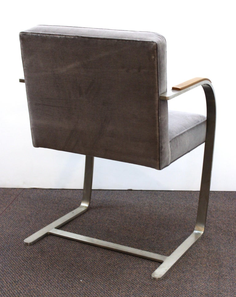 Stainless Steel Mies van der Rohe for Knoll Brno Armchairs For Sale