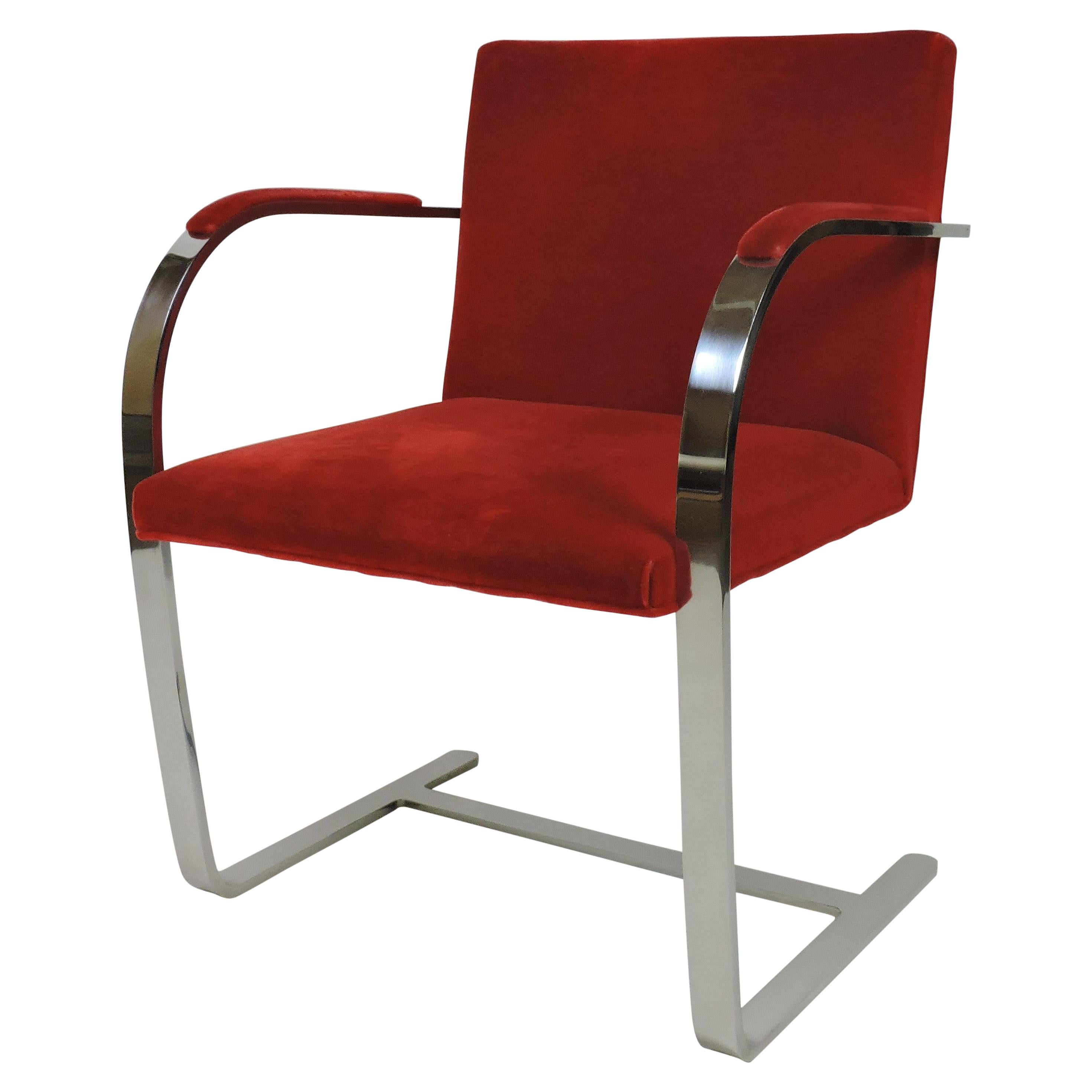 Mies van der Rohe for Knoll Brno Flat Bar Stainless Steel Chair