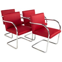 Mies Van Der Rohe for Knoll BRNO Mid Century Red Cantilever Dining Chairs, Set