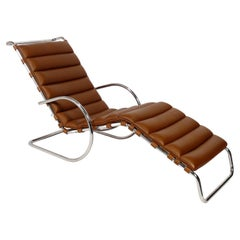 Mies van der Rohe for Knoll Chaise Lounge in Caramel Leather
