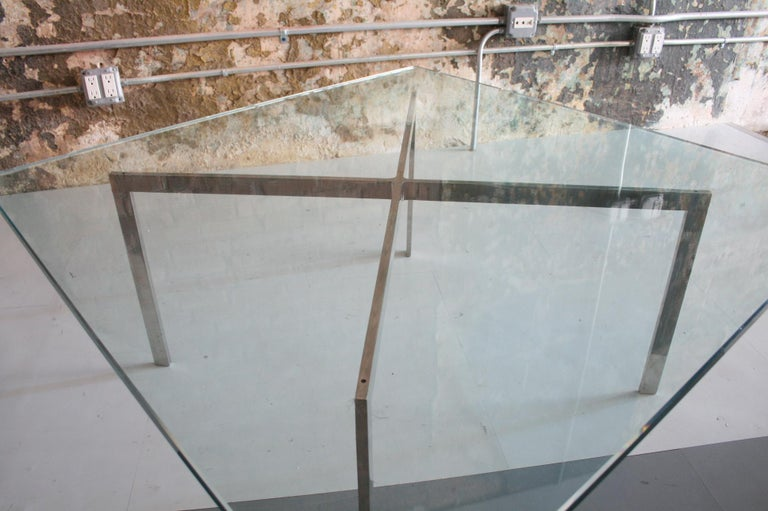 Mid-Century Modern Mies Van Der Rohe for Knoll Glass and Chrome Coffee Table For Sale