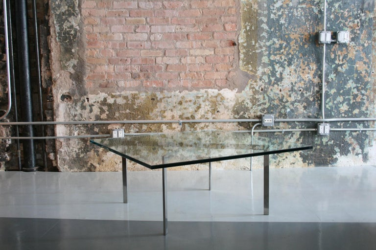 American Mies Van Der Rohe for Knoll Glass and Chrome Coffee Table For Sale