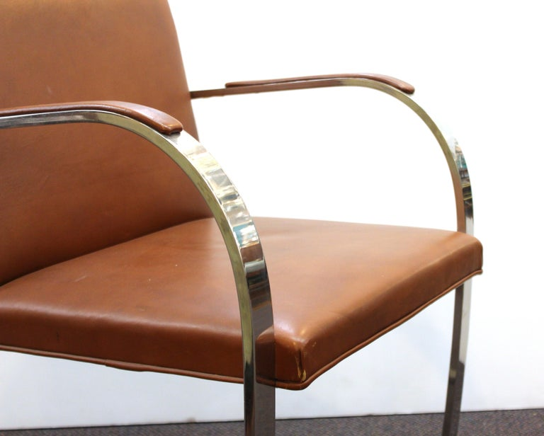 Mies Van Der Rohe For Knoll Modern Brno Leather Armchairs For Sale 4