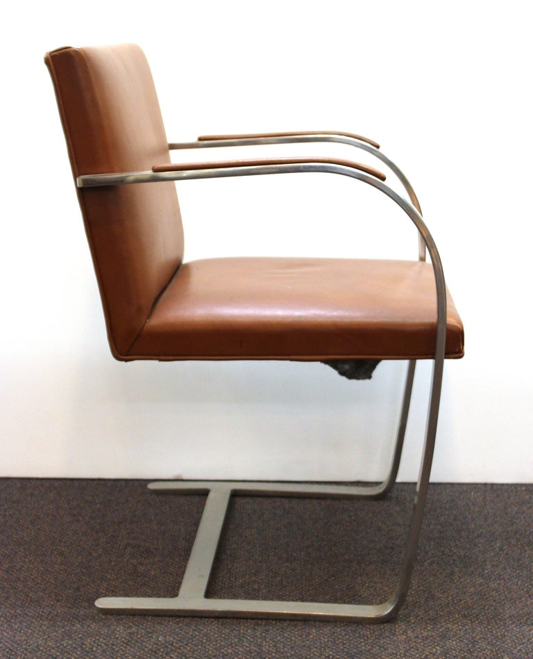 American Mies Van Der Rohe For Knoll Modern Brno Leather Armchairs For Sale