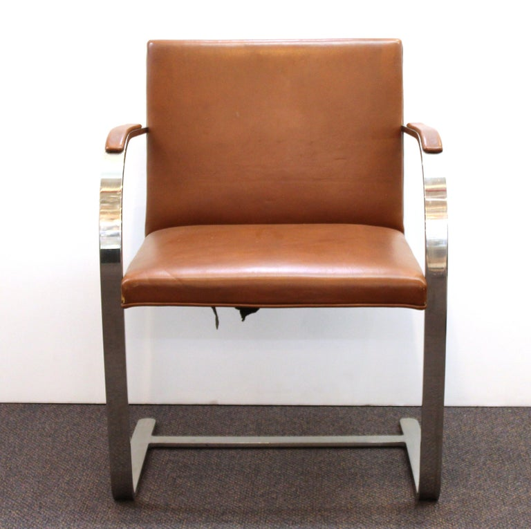 Mies Van Der Rohe For Knoll Modern Brno Leather Armchairs In Good Condition For Sale In New York, NY