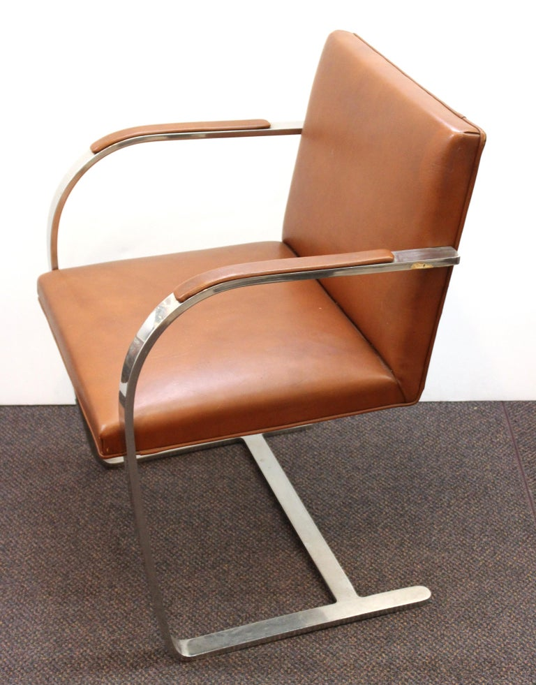 Mid-20th Century Mies Van Der Rohe For Knoll Modern Brno Leather Armchairs For Sale