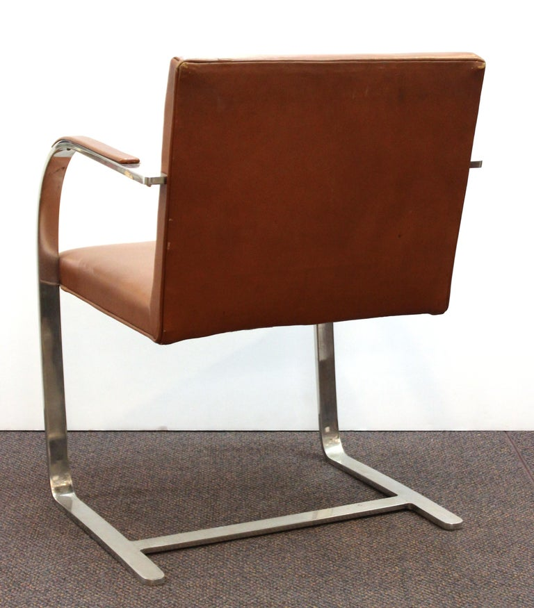 Metal Mies Van Der Rohe For Knoll Modern Brno Leather Armchairs For Sale