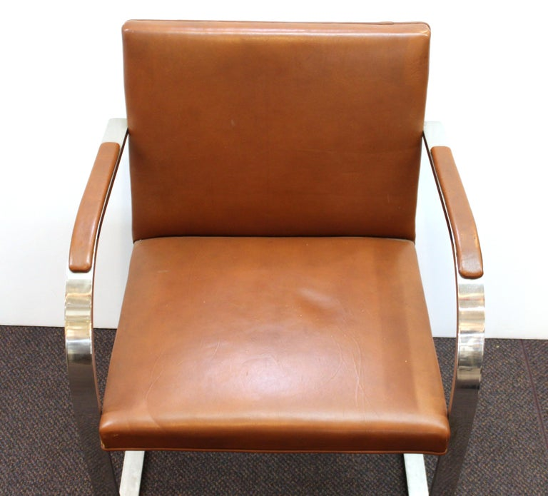 Mies Van Der Rohe For Knoll Modern Brno Leather Armchairs For Sale 1
