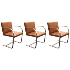 Mies Van Der Rohe For Knoll Modern Brno Leather Armchairs