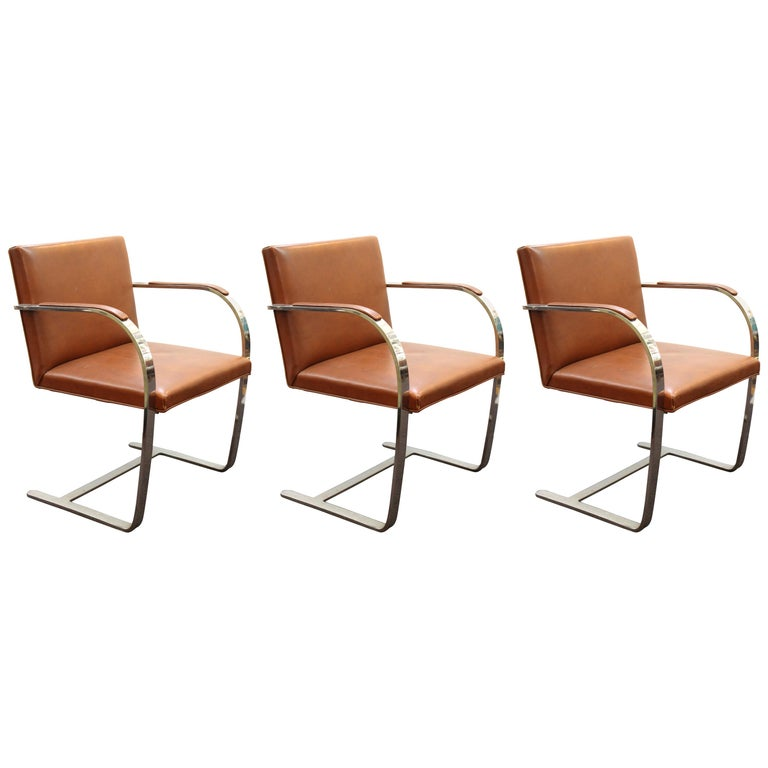 Mies Van Der Rohe For Knoll Modern Brno Leather Armchairs For Sale