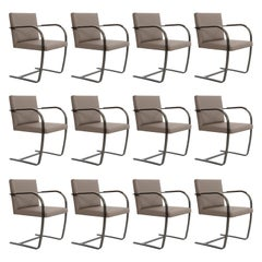Mies van Der Rohe for Knoll Set of Twelve Bronze Bruno Dining Chairs