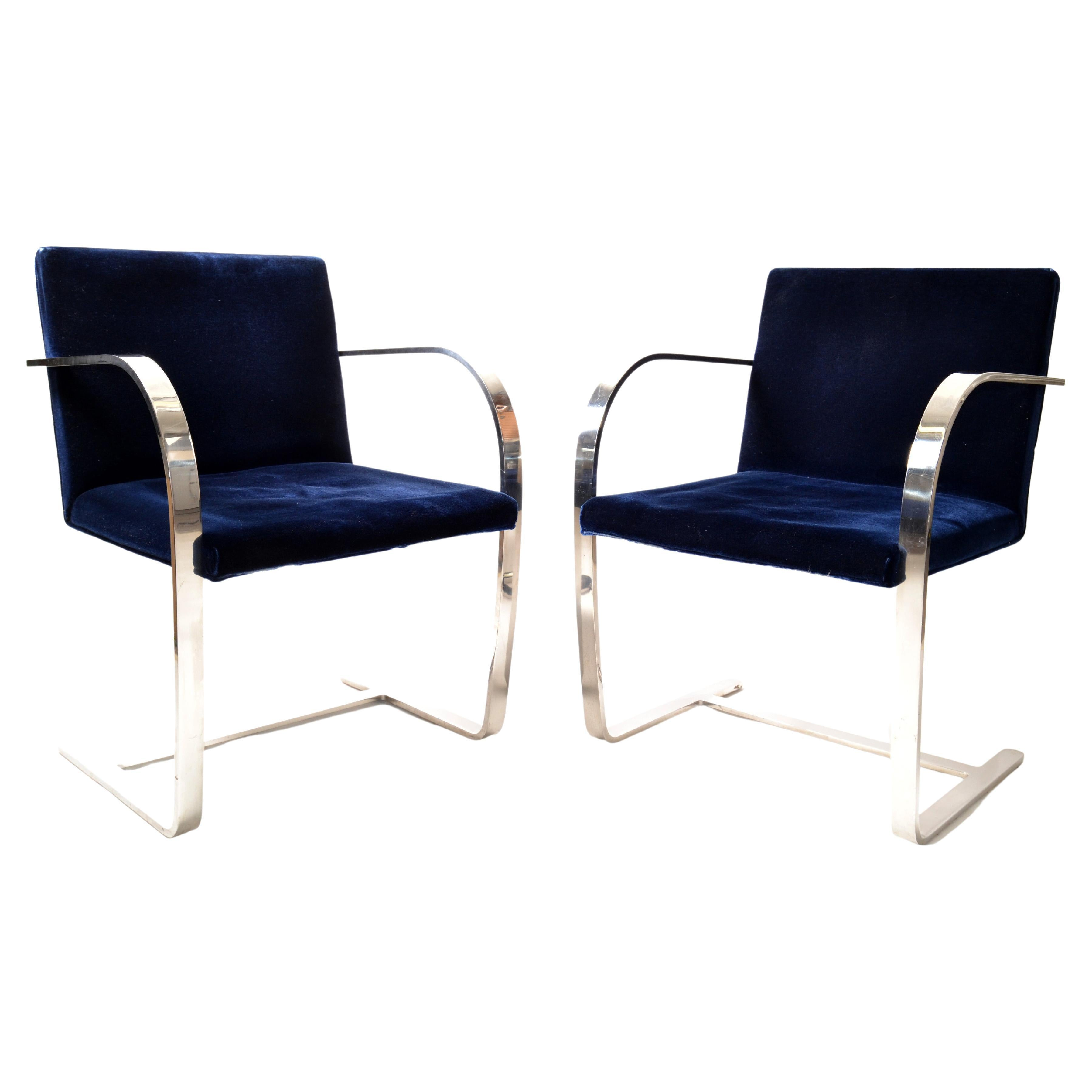 Mies Van Der Rohe For Knoll Stainless Steel Brno Chairs Blue Velvet 1977, Pair