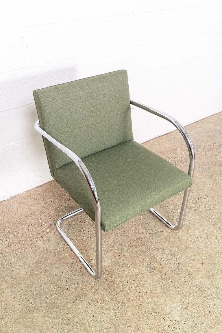 Mies van der Rohe Green Brno Chrome Cantilever Dining Chairs, Set of 4 For Sale 3