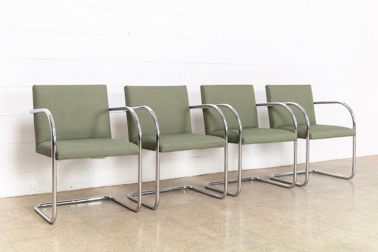 Mid-Century Modern Mies van der Rohe Green Brno Chrome Cantilever Dining Chairs, Set of 4 For Sale