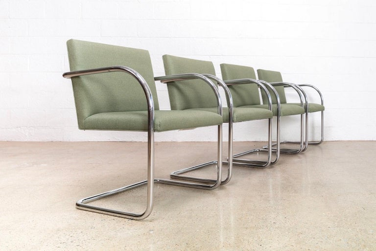 American Mies van der Rohe Green Brno Chrome Cantilever Dining Chairs, Set of 4 For Sale