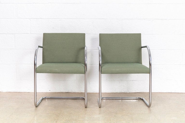 Mies van der Rohe Green Brno Chrome Cantilever Dining Chairs, Set of 4 In Good Condition For Sale In Detroit, MI