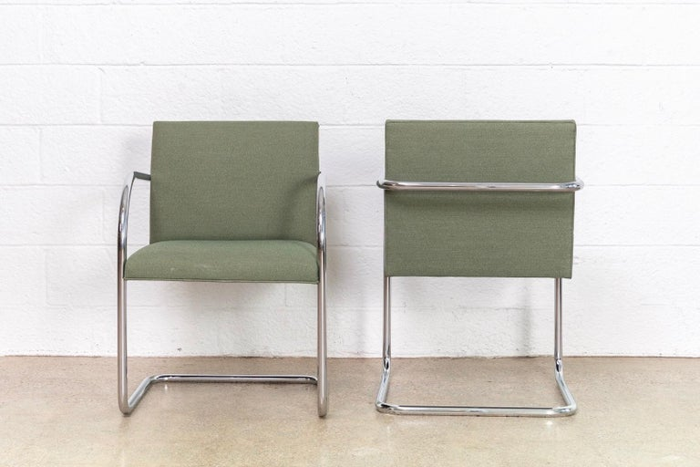 Late 20th Century Mies van der Rohe Green Brno Chrome Cantilever Dining Chairs, Set of 4 For Sale