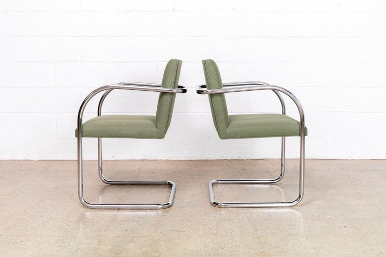 Steel Mies van der Rohe Green Brno Chrome Cantilever Dining Chairs, Set of 4 For Sale