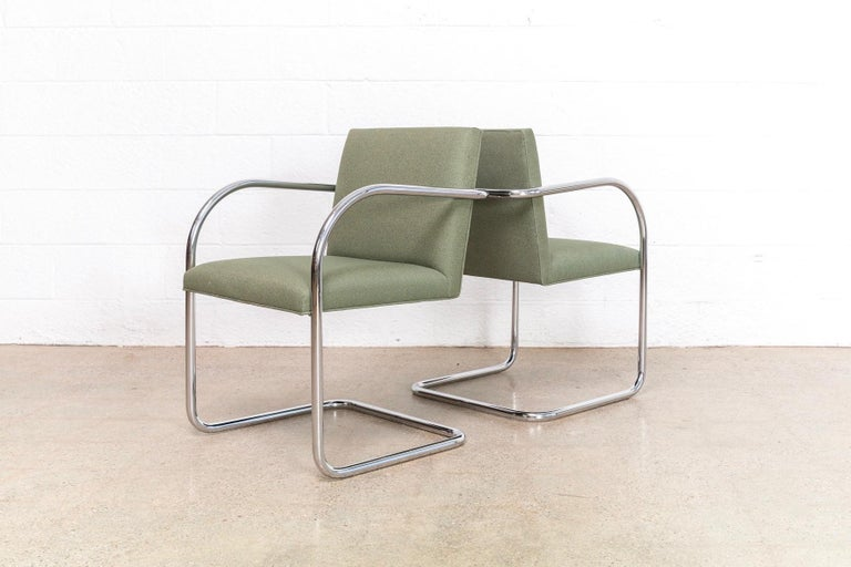 Mies van der Rohe Green Brno Chrome Cantilever Dining Chairs, Set of 4 For Sale 1